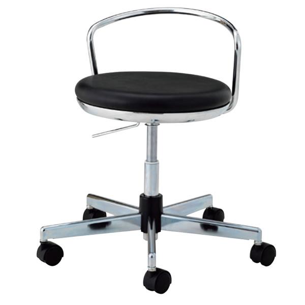 導電チェア 導電性クリーンルーム用 丸イス 作業用 作業椅子 椅子 背付き ガス上下調節 導電ウレタン巻双輪キャスター TSM-CR214L
