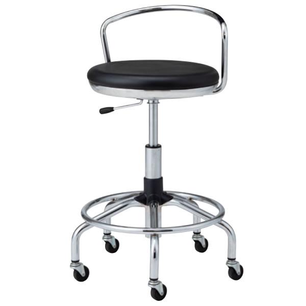 高作業用チェア 作業 椅子 作業用スツール TSM型 メッキ脚 ビニールレザー張り ガス上下調節 背付き キャスター付き TSM-MT7-Z