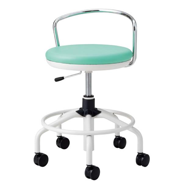 作業用チェア ハイタイプ 丸イス 作業スツール 丸椅子 椅子 座高ガス上下調節 キャスター付き 背パイプ付き リング付き TSM-W16