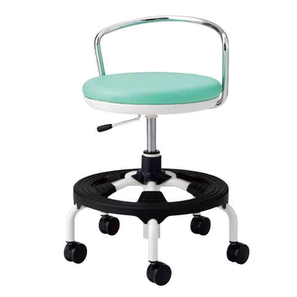 作業用チェア ハイタイプ 丸イス 作業スツール 丸椅子 椅子 座高ガス上下調節 キャスター付き 背パイプ付き 樹脂ステップ付き TSM-W16 ST
