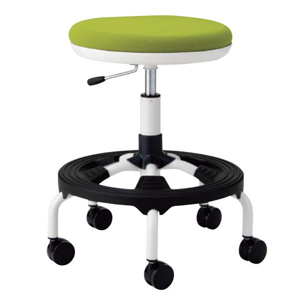 作業用チェア スーパーハイタイプ 丸イス 作業スツール 丸椅子 椅子 座高ガス上下調節 キャスター付き 背無し 樹脂ステップ付き TSM-W17 ST