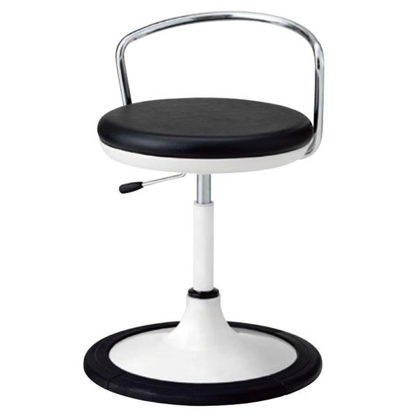 作業用チェア 丸イス 作業スツール 丸椅子 椅子 座高ガス上下調節 円盤脚 キャスターなし固定脚 背パイプ付き 樹脂プロテクタ付き TSM-WJ14B