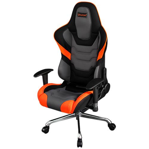バウヒュッテ Bauhutte ゲーミングチェア パソコンチェア エグゼクティブチェア 可動肘付 ゲーム用 椅子 オレンジ×ブラック RS-800RR-OR