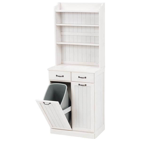 ダストボックス ナチュラル 収納 棚 ゴミ箱 2分別 25リットル ペール 2個付き 引出し 幅59×奥行38×高さ155cm(ホワイトウォッシュ)【MUD-6552WS】TA2101289900