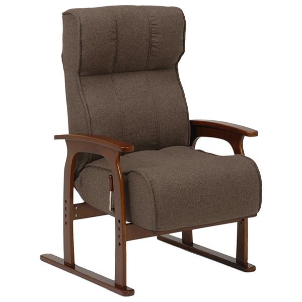 萩原 高座椅子 背部ガス圧無段階リクライニング手元レバー式 座面 低反発ウレタン ポケットコイル 高さ調節 肘付き ブラウン【LZ-4303BR】2101368500