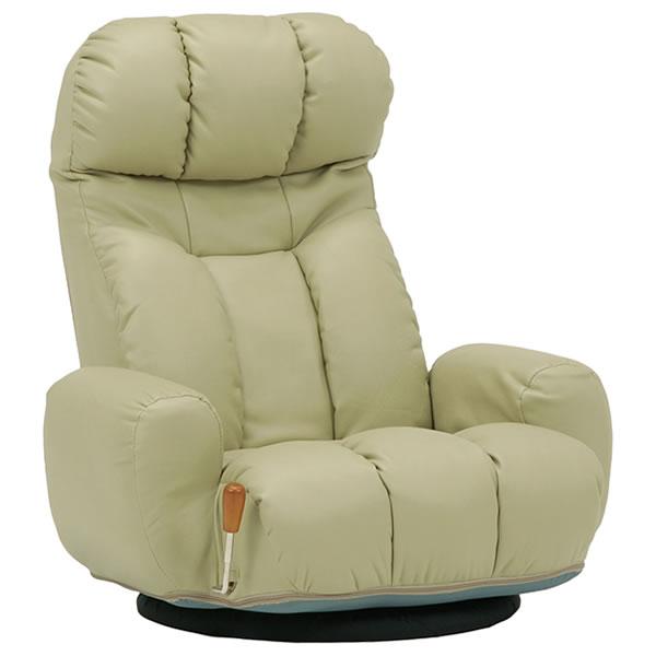 萩原 回転 座椅子 ハイバック 14段階角度調整 ガス圧 無段階リクライニング手元レバー式 ポケットコイル 合成皮革 ベージュ【LZ-4271LGY】2101370700