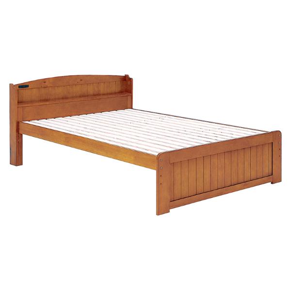 すのこベッド ベッド ダブル ブラウン 茶色 ベッドフレーム 北欧 木製ベッド スノコベッド ベット 3段階高さ調節 スノコベット カントリー調 宮棚付き おしゃれ bed ベッドフレームのみ 【MB-5113D-BR】TA2101790600