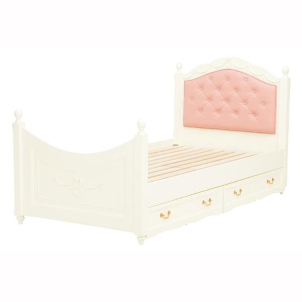 ベッド シングル ホワイト 収納ベッド プリンセス家具 姫系 収納付きベッド ベッドフレームのみ すのこベッド 木製 白 子供用 ロマンティック 女の子 かわいい [RB-1855WH]