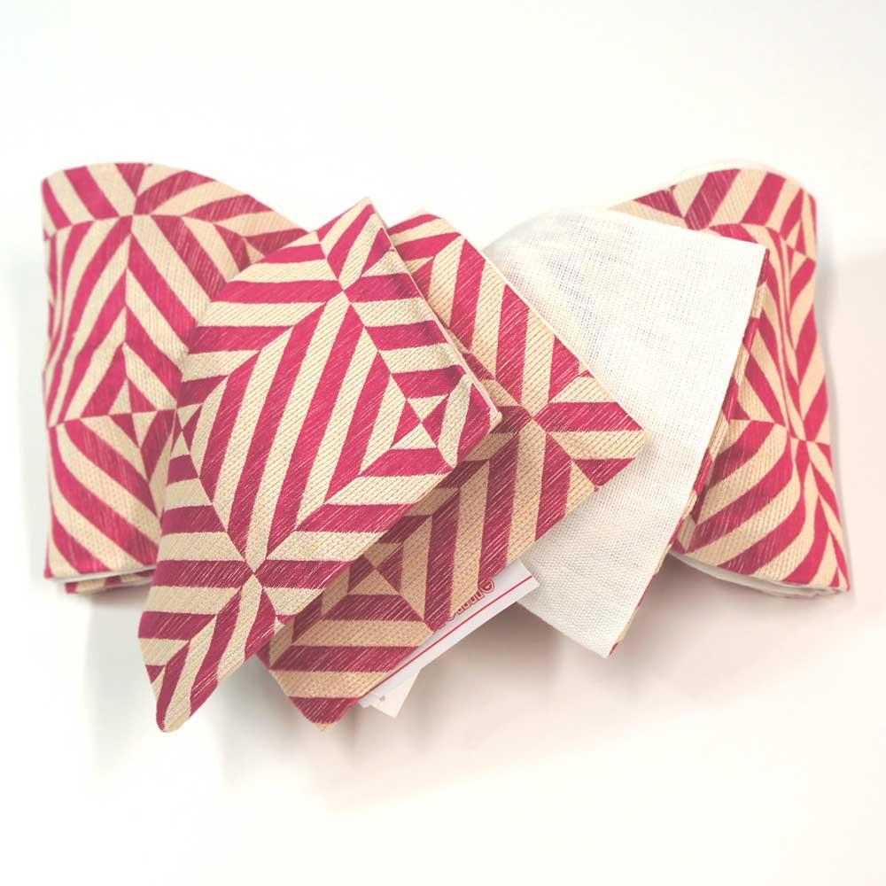 半幅帯 【縞格子柄】リバーシブル 浴衣 小袋帯 半巾帯 【ピンク地幾何学模様】 麻ポリ100% hob11171