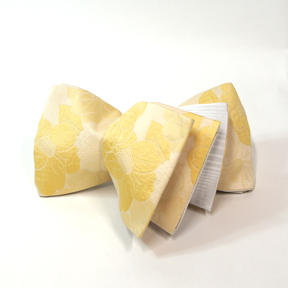 半幅帯 リバーシブル 浴衣 小袋帯 お洒落な半巾帯 浴衣帯 【薄卵色椿織柄】 hob11230