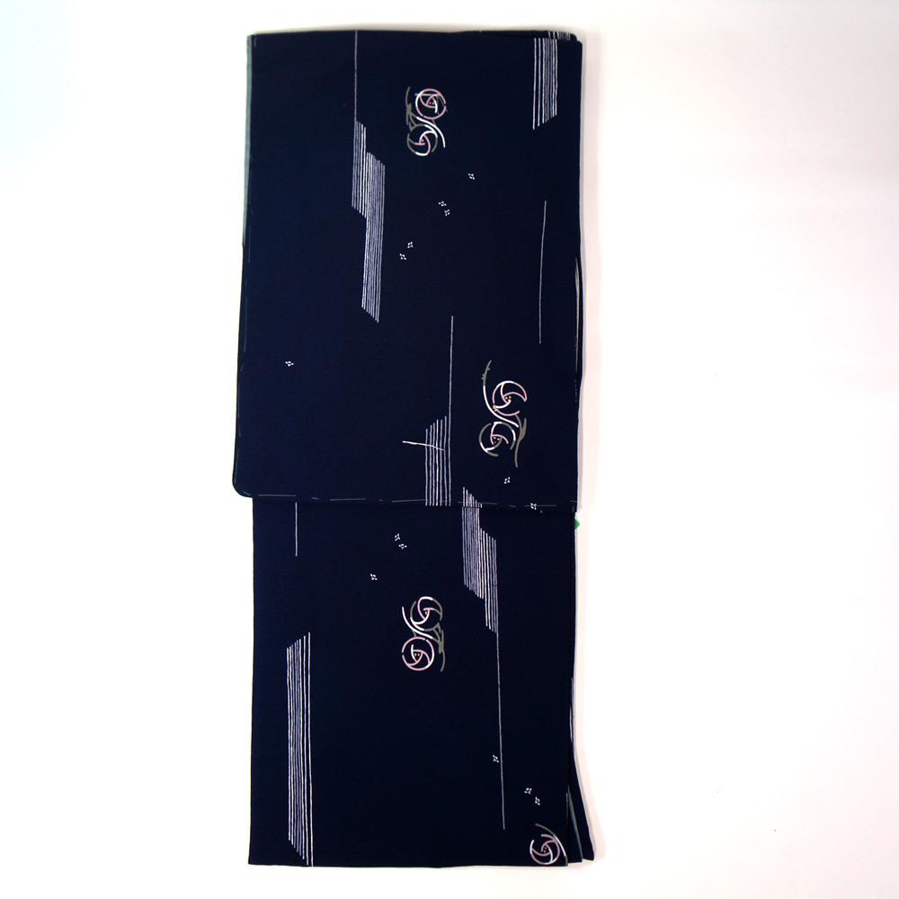 洗える着物 単品【東レ シルック】 フリーサイズ レトロモダン 【紺地にバラのモチーフ柄】すぐに着られます ws12003