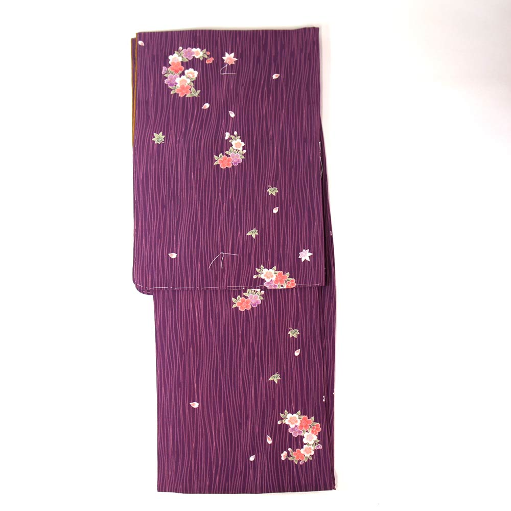 洗える着物 単品【東レ シルック】 フリーサイズ レトロモダン 【紅紫系桜花丸柄】すぐに着られます ws12009