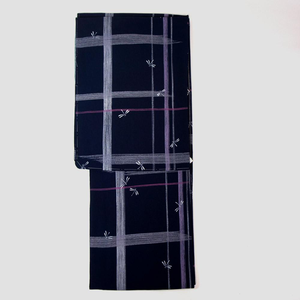 洗える着物 単品【東レ シルック】 フリーサイズ レトロモダン 【紺地変り格子柄】すぐに着られます ws12010