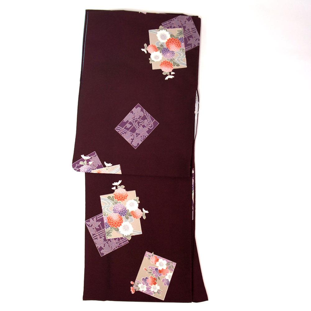 洗える着物 単品【東レ シルック】 フリーサイズ レトロモダン 【臙脂系に色紙柄】すぐに着られます ws12013