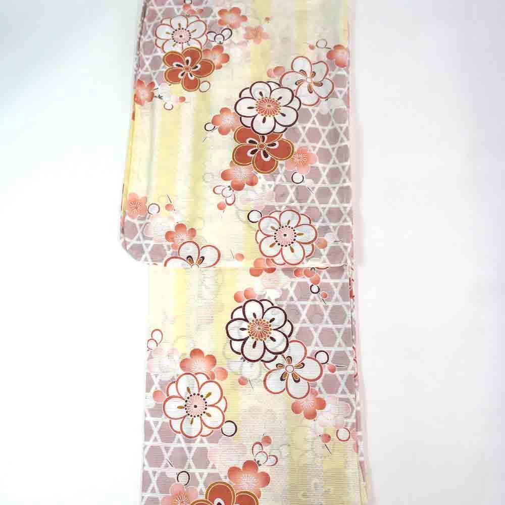 浴衣 単品 綿絽浴衣 ゆかた フリーサイズ すぐに着られます 薄卵色に籠目と梅柄 仕立上り商品 高級木綿 100% yu11019