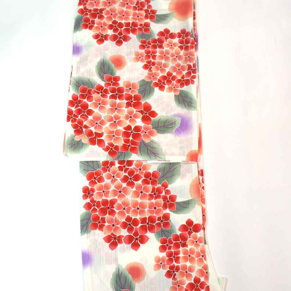浴衣 単品 涼しい木綿の浴衣 ゆかた フリーサイズ すぐに着られます 生成地に優しい紫陽花柄 仕立上り商品 対応身長155-165 綿 yu11030