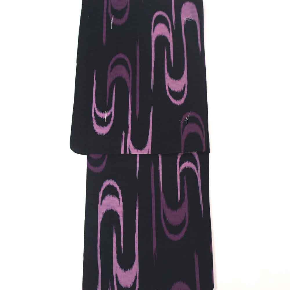 浴衣 単品 涼しい木綿の浴衣 ゆかた フリーサイズ すぐに着られます 濃紺地に紫の流水柄 仕立上り商品 対応身長155-165 綿 yu11031
