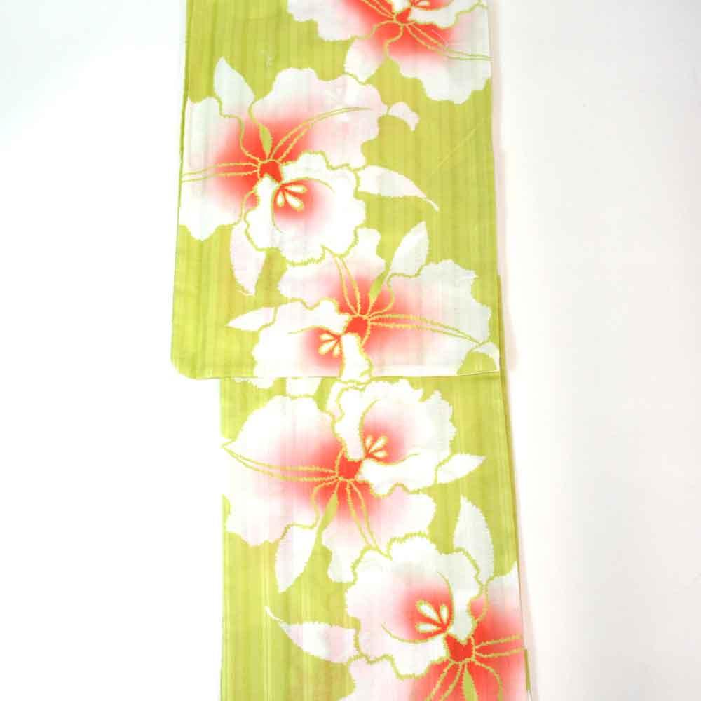 浴衣 単品 涼しい木綿の浴衣 ゆかた フリーサイズ すぐに着られます 鶸色にモダンな欄柄 仕立上り商品 対応身長155-165 綿 yu11033