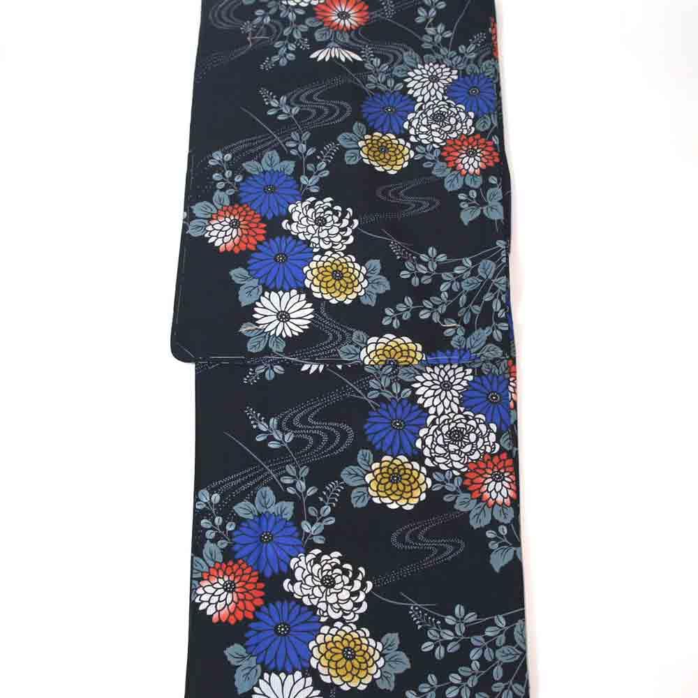 浴衣 単品 浴衣 ゆかた フリーサイズ すぐに着られます黒地に流水と菊柄 仕立上り商品 yu11075