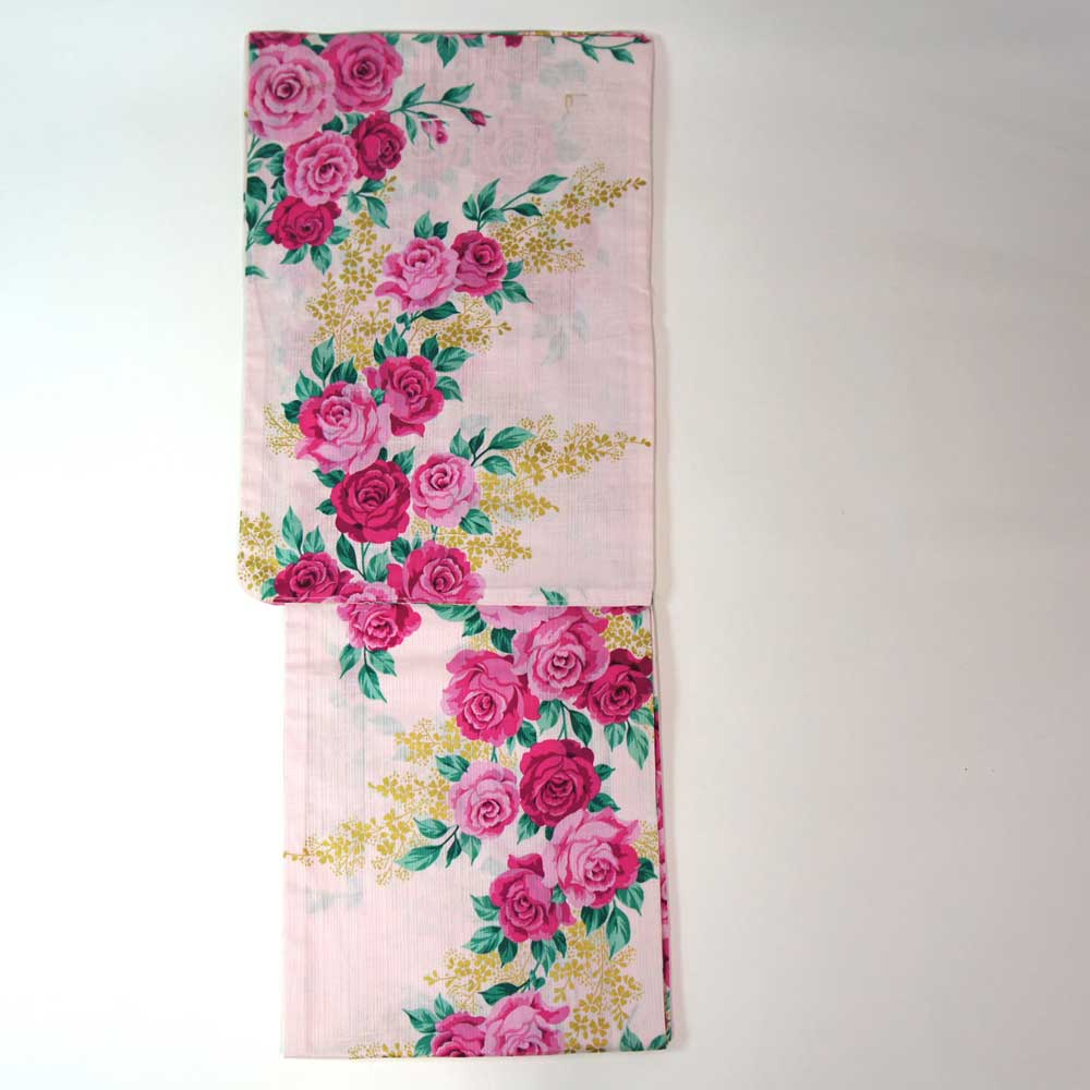 浴衣 単品 爽やか浴衣 ゆかた フリーサイズ すぐに着られます【薄ピンク地バラ柄】 仕立上り商品 対応身長155-165 綿 yu12022