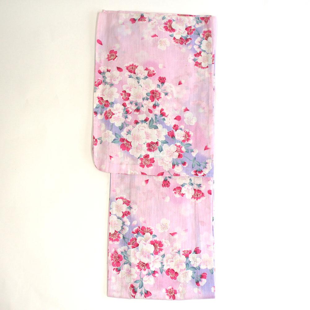 浴衣 単品 爽やか浴衣 ゆかた フリーサイズ すぐに着られます【ピンク地に桜柄】仕立上り商品 綿 yu12090