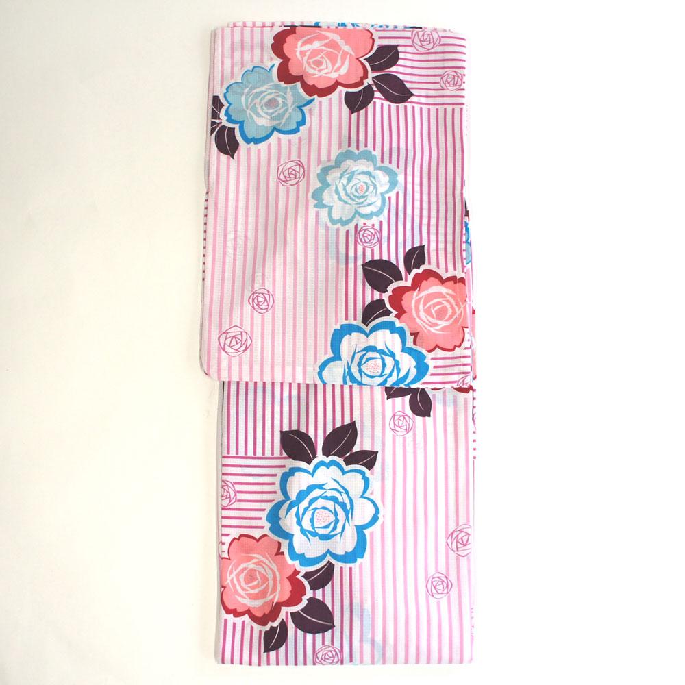 浴衣 単品 爽やか浴衣 ゆかた フリーサイズ すぐに着られます【ピンクストライプにバラ柄】仕立上り商品 ポリエステル yu12091
