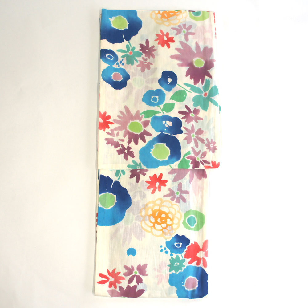 浴衣 単品 爽やか浴衣 ゆかた フリーサイズ すぐに着られます【白地に花柄】仕立上り商品 綿 yu12066