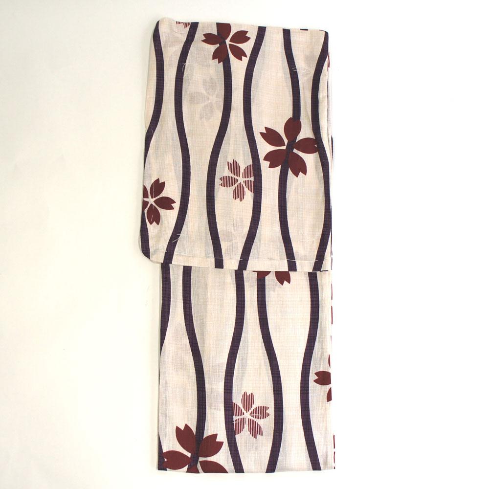 浴衣 単品 爽やか浴衣 ゆかた フリーサイズ すぐに着られます【生成り 変わり縞 桜】仕立上り商品 綿 yu12101