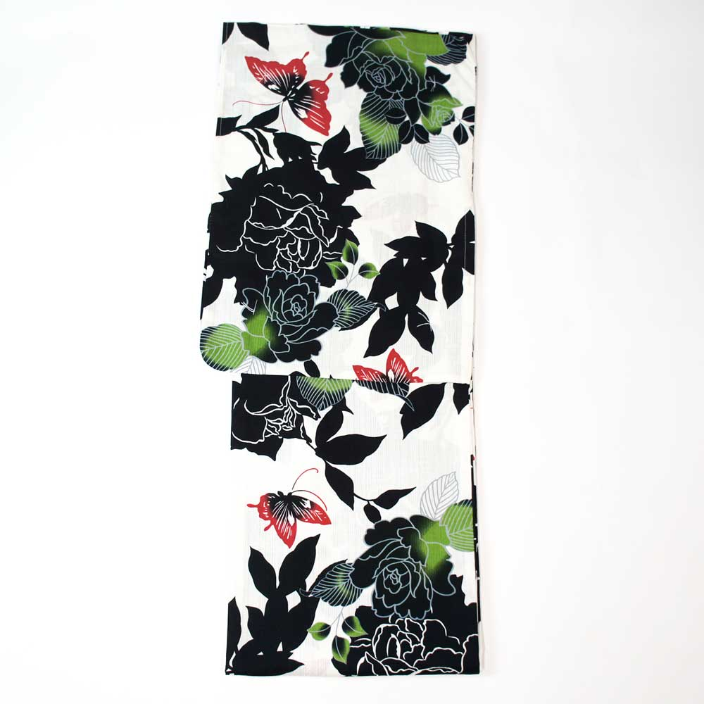 レディース 浴衣 単品 爽やか浴衣 ゆかた フリーサイズ すぐに着られます【白地にバラと蝶】仕立上り商品 木綿 yu19aa01