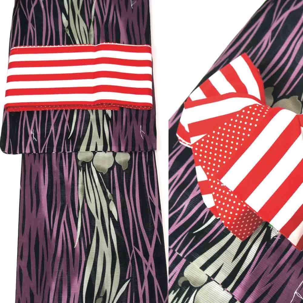 浴衣セット 2点セット 綿絽浴衣 ゆかた フリーサイズ すぐに着られます 黒地シックなアヤメ柄 仕立上り商品 高級木綿 100% 半巾帯 リバーシブル半幅帯 赤×白の水玉柄 yus11064