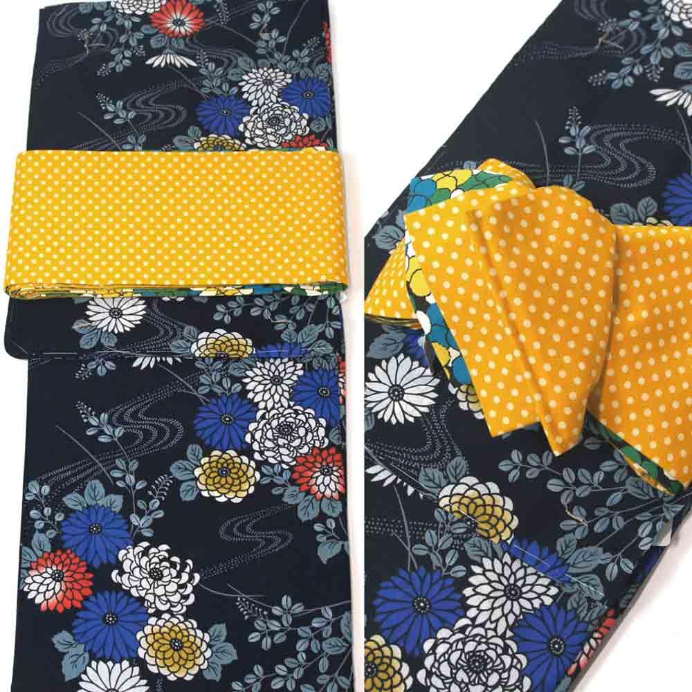浴衣セット 2点セット 浴衣 ゆかた フリーサイズ すぐに着られます黒地に流水と菊柄 仕立上り商品 半巾帯 リバーシブル半幅帯 サフランイエロードット×花柄 yus11075