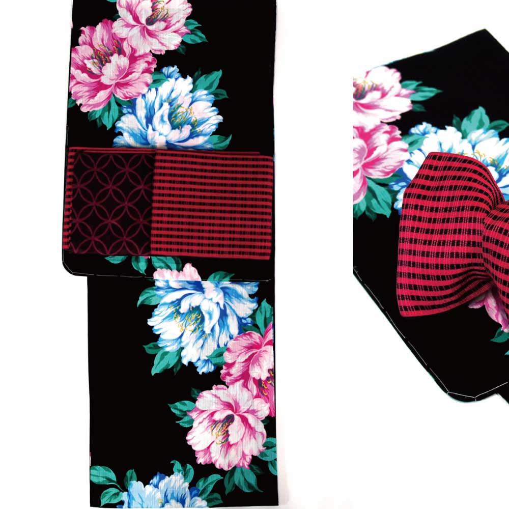 浴衣セット 2点セット 浴衣 ゆかた フリーサイズ すぐに着られます【黒地モダン花柄】仕立上り商品 半巾帯 リバーシブル半幅帯【ピンクブラック】yus12025