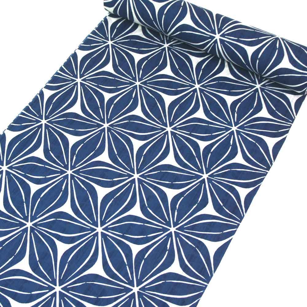 浴衣反物 大人モダン柄 【未仕立品です】 綿麻 胡粉色地に藍色の花柄 yu22002