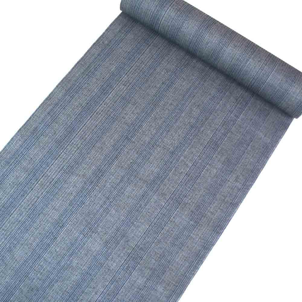 浴衣反物 大人シック柄 お仕立付き 男女兼用 綿麻 藍色無地系細縞柄 yu22021