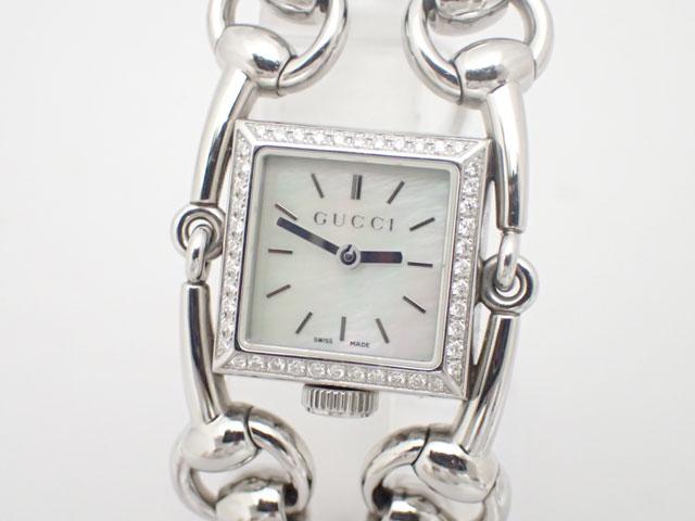 GUCCI グッチ シニョーリア SS QZ ホワイトシェル文字盤 116.5 レディース ダイヤベゼル 腕時計 【中古】【グッチ】【腕時計】【YA116513】【ダイヤ】