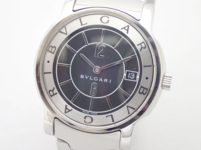 BVLGARI 『4年保証』 ブルガリ ソロテンポ 18%OFF SS QZ 黒 メンズ 中古品 ST35 ST35BSSD 腕時計