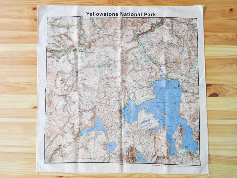 Yellowstone National Park Topographic Map.Sokit The Printed Image Yellowstone Topo Bandana The Printed