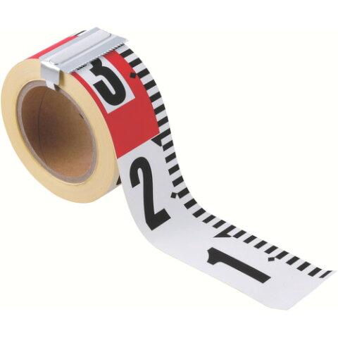 自由な長さに切って貼れる赤白テープ板やコンクリート面に直接貼って使用可能 エコ 新着セール ピタッ 2020モデル とロッド HPR602T 目盛付 赤白テープ 25m 建築 マイゾックス 土木 60mm幅X赤白:20cm間隔 造園