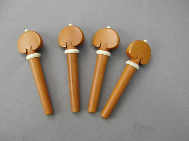 Heart/White Pin  Collar Violin Peg set Boxwood バイオリン ペグセット ボックスウッド ハート型 ホワイト