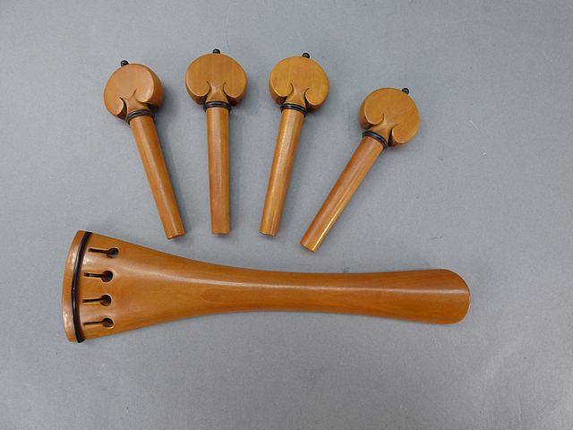 Cello Fitting set BoxwoodBlack Model French Tailpiece