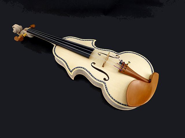 White Inlaid Baroque Violinホワイト バロックバイオリン