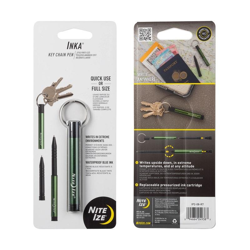 水に強いボールペン 水中ボールペン キーホルダー 交換無料 超定番 加圧式 野外 NI59168 インカペン ナイトアイズ 組み立て オリーブ