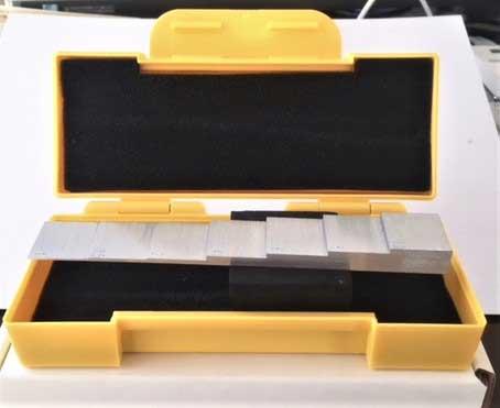 アルミニューム製厚さ測定用階段試験片7段、1.0mm-10.0mm
