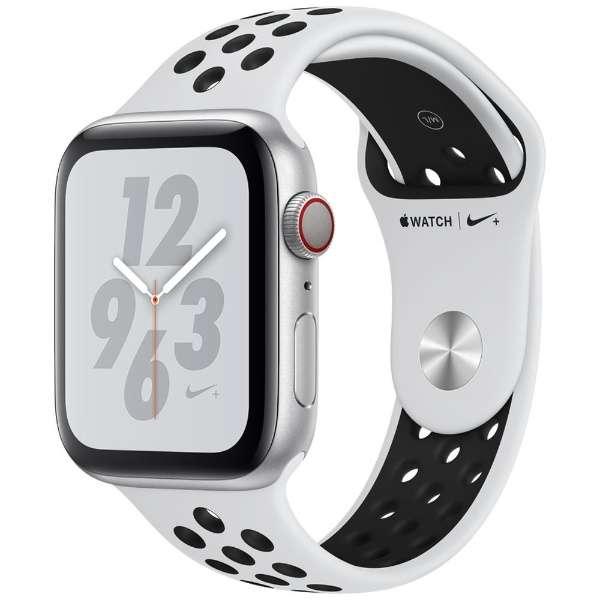 【全国送料無料 代引可 平日15時・土曜14時まで注文で当日発送】Apple Watch Nike+ Series 4(GPS + Cellularモデル)44mmピュアプラチナム/ブラックNikeスポーツバンド