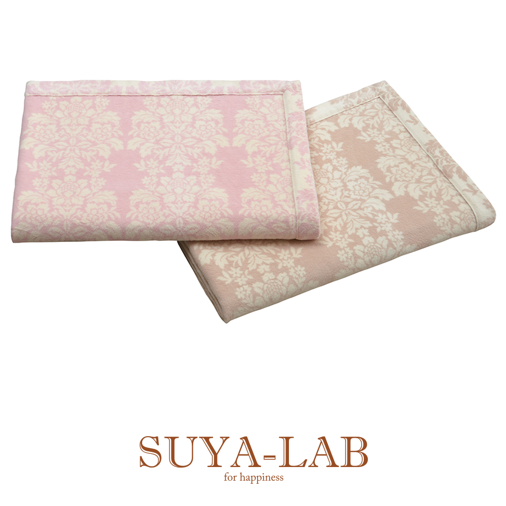 [SUYA-LAB] コットンブランケット/クラシックフラワー 140×200cm ピンク/ベージュ