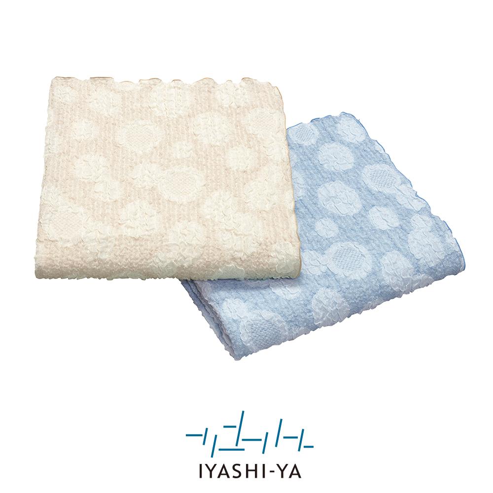 [IYASHI-YA] 麻混さらさらガーゼケット/IY-2004 約140×190cm ブラウン/ブルー
