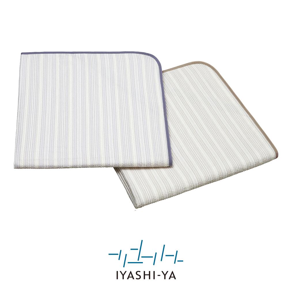 [IYASHI-YA] 洗える麻混パッドシーツ/IY-2006 140×205cm ブラウン/パープル
