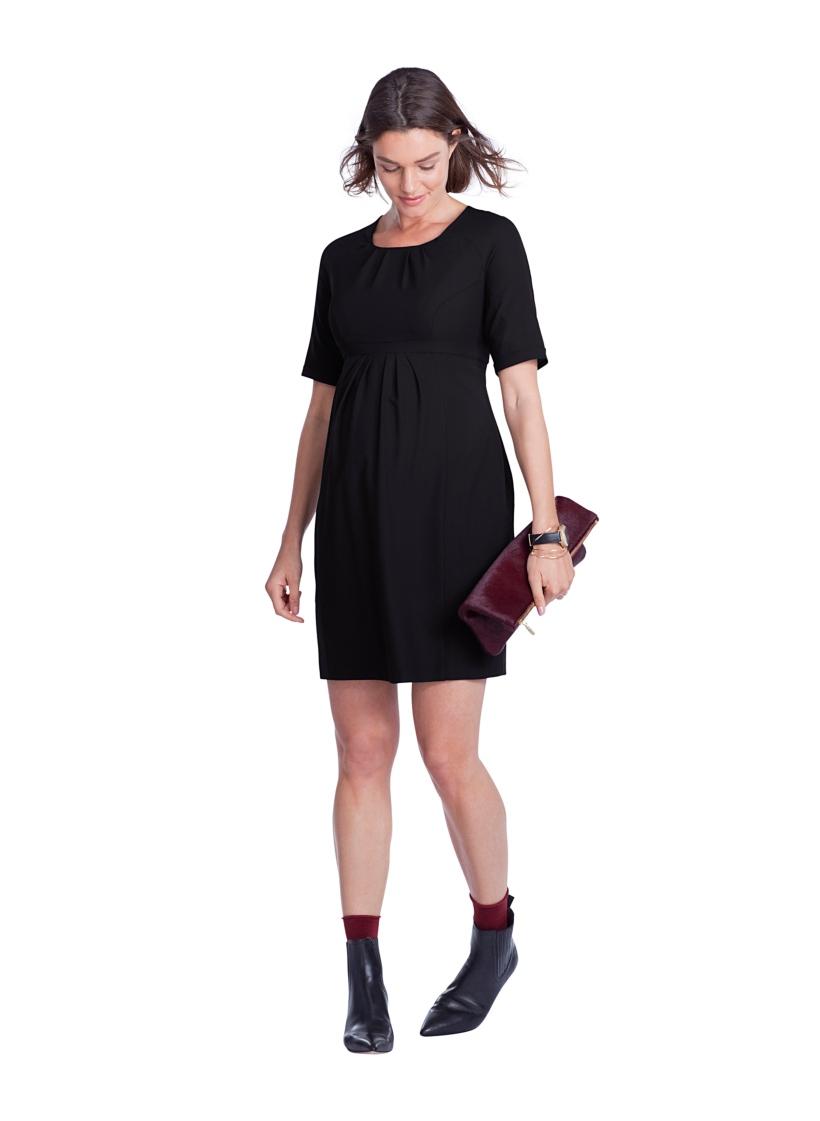 Isabella Oliver ヘイリークレープマタニティドレス -ブラック