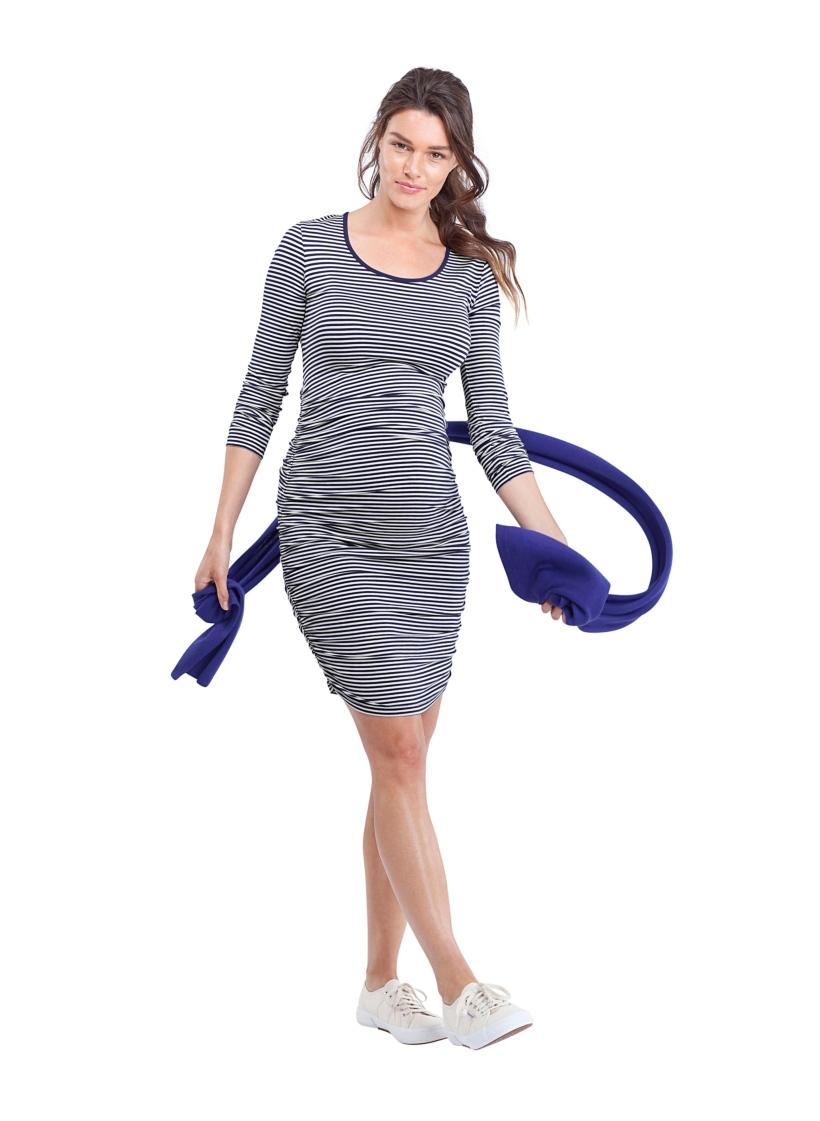 Isabella Oliver ハミルトンマタニティドレス -ブルー×ホワイトストライプ