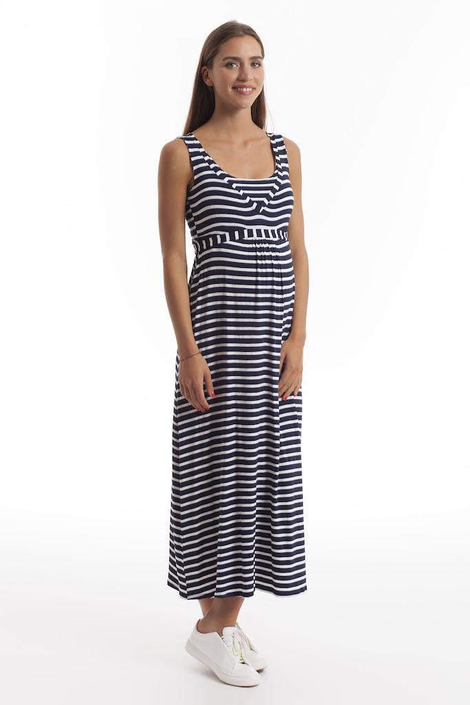 560da9b2cf8 Pomkin FELICIE  lt nursing correspondence gt  maternity maxi dress - navy  stripe ...